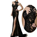 LP212 Halter High Neck Black Lace Sequins Evening Dress Long Mermaid Side Slit Women Formal Gowns,Black Vestido De Festa