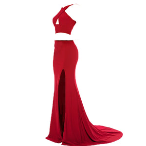 Jersey Crop Top Red Prom Dresses Sexy Halter Fitted Formal Gowns ,Evening Long Party Gown keyhole 2018 LP938