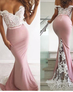 Elegant Pink and White Lace Mermaid Evening Gowns Long Off the Shoulder Women Party Dresses PL574