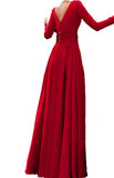 Long Sleeved Formal Wear for Women Outfits 2018 Sexy Slit Evening Dress Burgundy/red