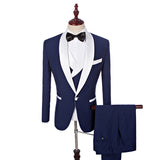 2020Groom Tuxedos  Lapel Men Suits With Pants Wedding Business Men Suit(Jacket+Pants+Vest+Bow Tie)