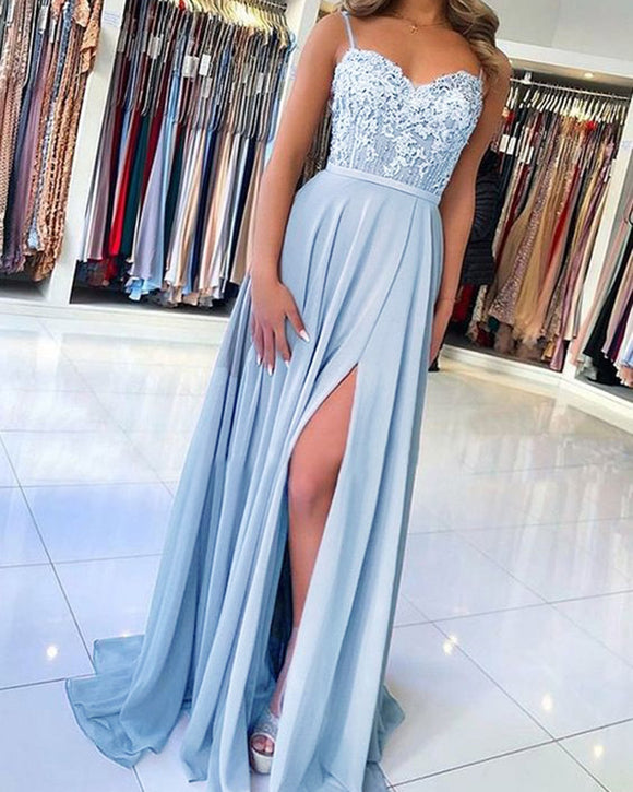Flowing Chiffon Spaghetti Straps lace  Applique Long Party Dress Blue Prom Dress Gown PL06291