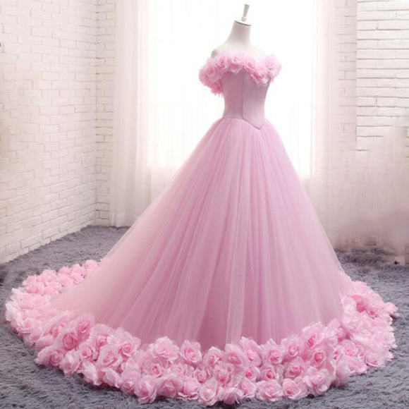 Romantic Pink Rose Wedding Dress Princess Ball Gown Quinceanera Debutante Gown Girls Sweet 16 Gown WD878