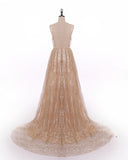 Spaghetti Straps Sequins Gold Women Formal Dresses Long Evening Party Gowns