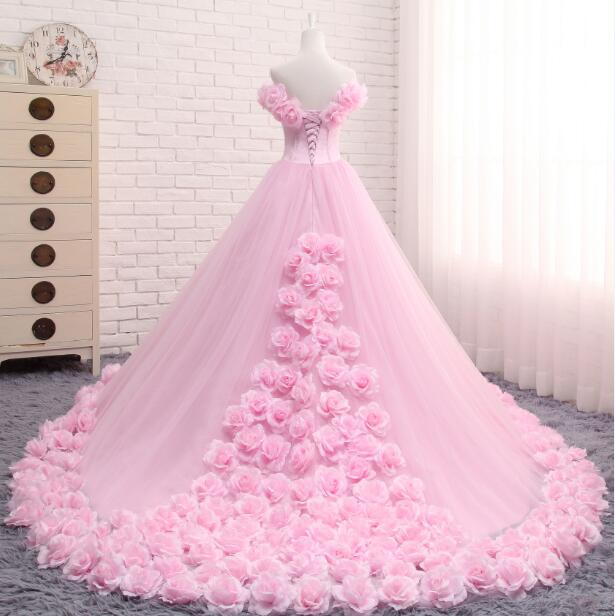 Anime Ball Gown White With Red Roses: Romantic Pink Rose Wedding Dress Princess Ball Gown