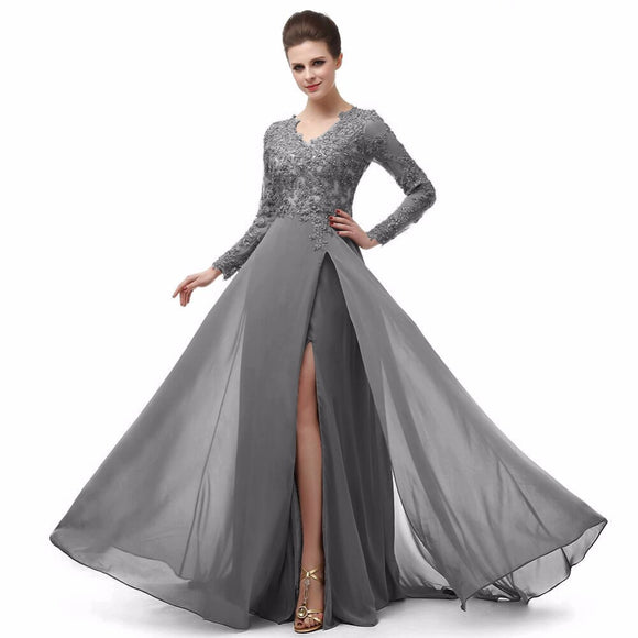 Long Sleeves Lace Mother of the Bride Dress Women Wedding Party Gown Long Evening Gown