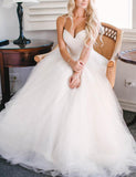 Dreamy Spaghetti Straps A Line White Tulle Beach Wedding Dress Elegant Bridal Gowns Siaoryne MO100