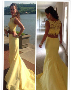 Yellow two Pieces mermaid Prom Dress 2019 Long Satin LP6652