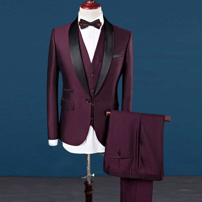 Sute For Formal: Suits Men Costume Homme Mens Suits Wine Tuxedos 2018 3