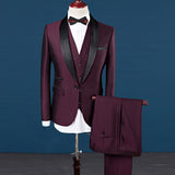 Suits Men costume homme mens suits Wine Tuxedos 2018 3 Pieces(Jacket+Vest+Pant)