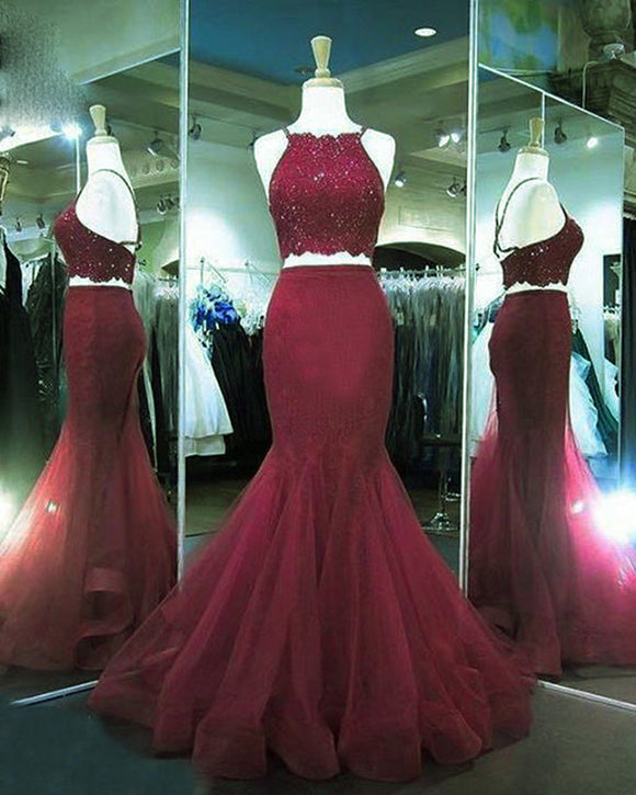 Halter Spaghetti Straps Dark Red Mermaid Crop Top 2 Pieces Prom Gown
