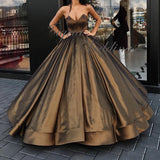 LP6897 Ball Gown Prom Dress Satin Formal Evening Gown Reception Dress 2018 Wedding Gown