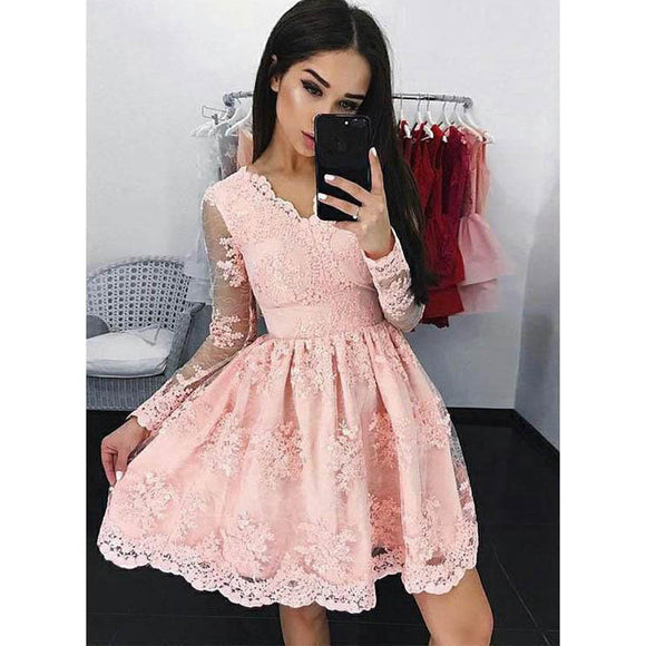 Short Party Dress with Sleeves ,Cocktail Semi formal Pink Lace Gown For Girls Homecoming SP704