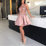 Siaoryne SP021 Pink Sexy See Through Lace Short Homecoming Dress Neww 2017