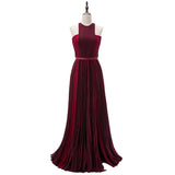 Grape Pleated Chiffon Two Tunes Halter Prom Dresses Long Evening Formal Gowns women