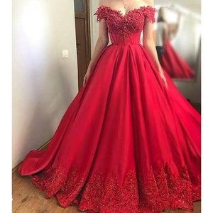 New Red Ball Gown Prom Dresses Women Evening Dresses off the Shoulder Lace Vestido De Festa