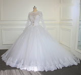 New Vintage Long Sleeves Lace Ball Gown Bridal Wedding Dress  WD6642