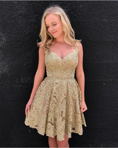 Siaoryne SP0822 Champagne Lace Homecoming Prom dresses 2018