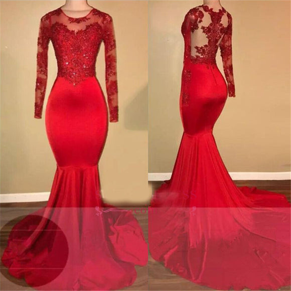 Scoop Neck Lace Mermaid African Prom dresses red Long Formal Evening Dresses LP645