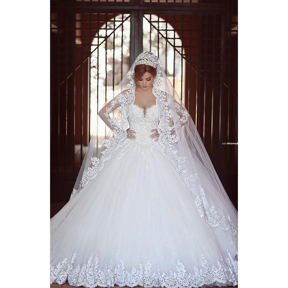 Siaoryne WD1009 Vintage Lace Wedding Dress with Long Sleeves Bridal Gown 2018 Custom Made