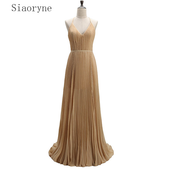 New Pleated Chiffon Halter Champagne Long Evening Dress Party Gown vestidos de festa noite