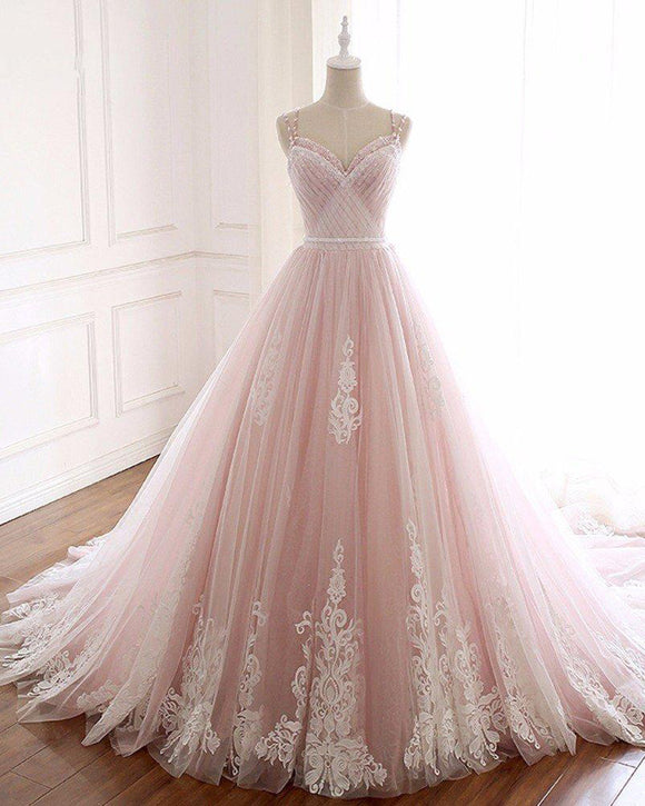 Pink /Ivory Lace Wedding Dress,Girls Sweet 16 Party Prom Gown Quinceanera Dress with Straps PD06238
