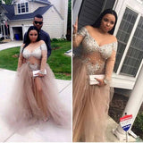 Champagne see through long sleeves prom dresses slit Evening Gown LP6612
