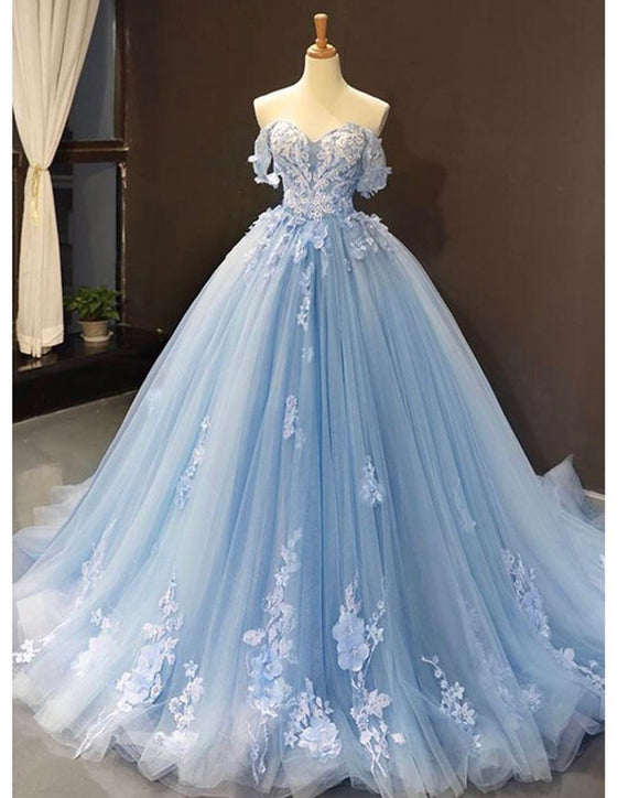 Skye Blue off the shoulder lace Sweet 16 Prom Quinceanera Dresses JP412