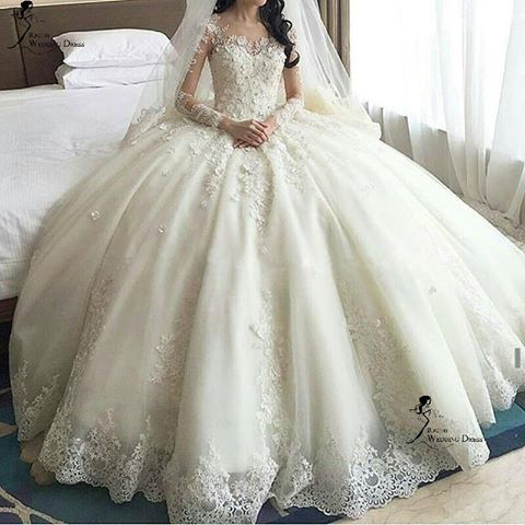 Siaoryne WD9011 Long Sleeves Wedding Dresses Princess Ball Gown Lace Bride