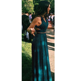 Chic Crop Top Prom Dress Long Chiffon Party Dresses Sexy Formal Gown