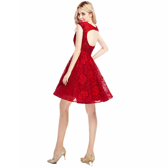 Lovely Cap Sleeves  Lace red Lace 8th Grade Junior Prom Dresses Short Homecoming Gown