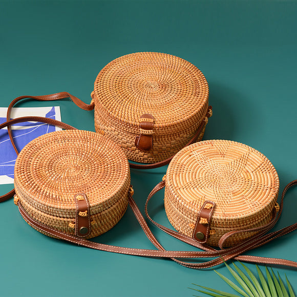 2020 New Rattan bag Round Straw Bag Handbags Women Summer Handmade Woven Beach Handbag RB210