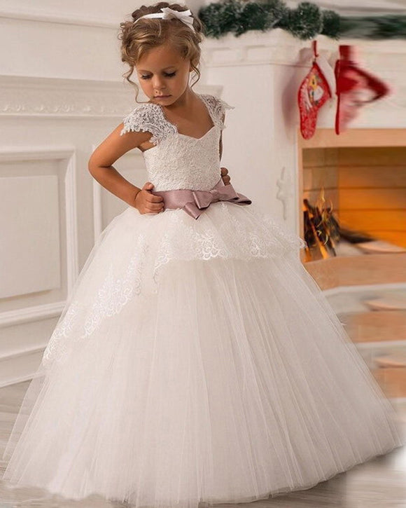 Ball Gown Lace White Flower Girls Dresses Child Wedding Dress FG745