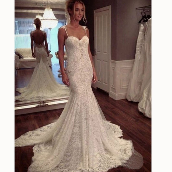 e9eb0be47229 Sexy Classy Spaghetti Mermaid wedding Dresses Lace Bride Gown abiti da  sposa 2018