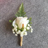 Boutonniere Ivory Groom Groomsman Best Man Rose Flowers Wedding Bouquet Accessories Party Bride Suit Decoration