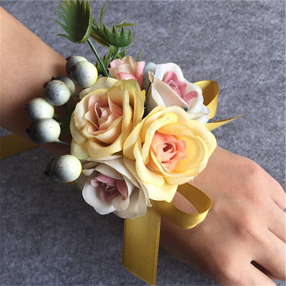 Handmade Wedding Corsage Groom Boutonniere Bride Bridesmaid Women hand Wrist Flower Artificial Flowers Corsages Wedding