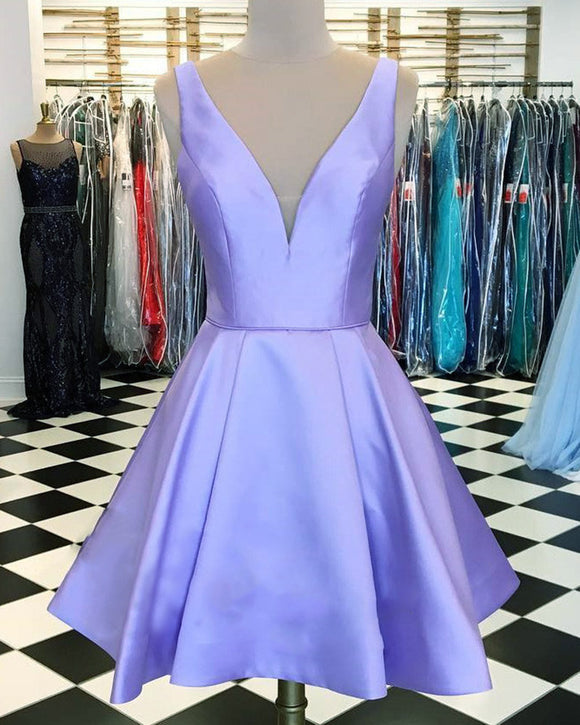 Siaoryne V Neck Lavender Homecoming Prom Dresses Short SP652