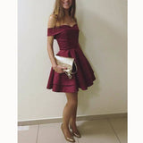 SP2118 Burgundy Elegant Off the Shoulder Short Graduation Dress Semi formal Homecoming Prom Gown