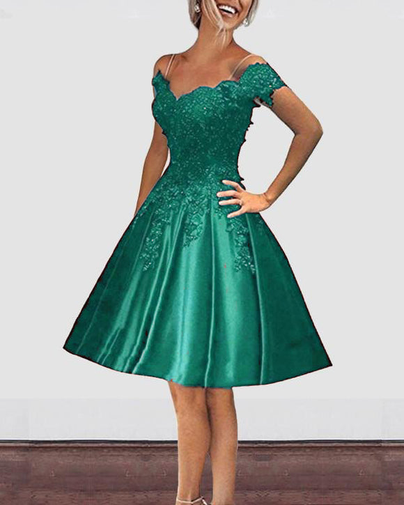 Off Shoulder Emerald Green Short  Prom Dresses Girls Homecoming Graduation Gown SP612