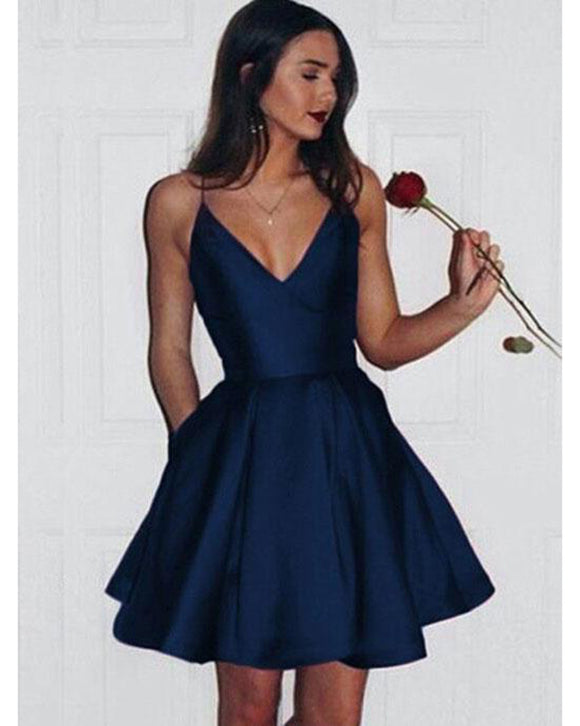 Navy/Red Girls Short Junior Graduation Prom Dresses with Straps SP325