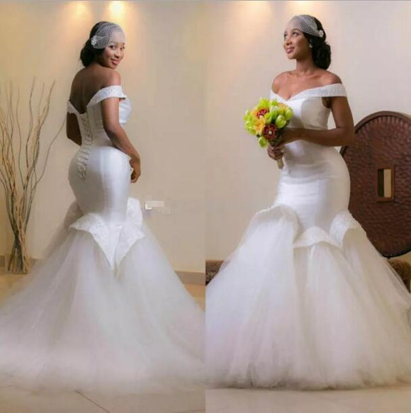 Siaoryne WD010 Sexy Mermaid Satin Tulle Wedding Dress Custom made Plus Size gowns for bride with beading