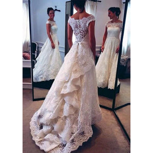 Dreamy A Line Lace Appliqued Wedding Dresses with Cap Sleeves