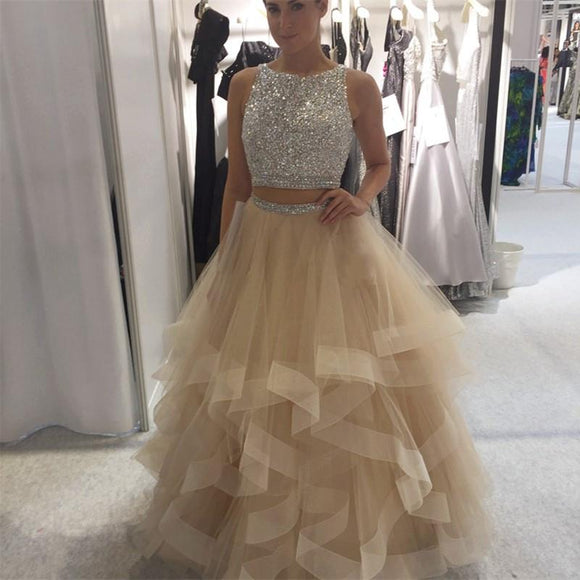 Long Crystal Beaded Two Pieces Prom Dresses Ruffles Ball Gown Skirt 2020