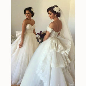 Romance Ball Gown Bridal Dress Princess wedding Dress with Bow Attachable off the Shoulder Wedding Party Gown