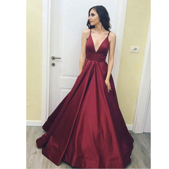 Siaoryne Burgundy Spaghetti Straps Long Prom Dresses,Girls formal gown