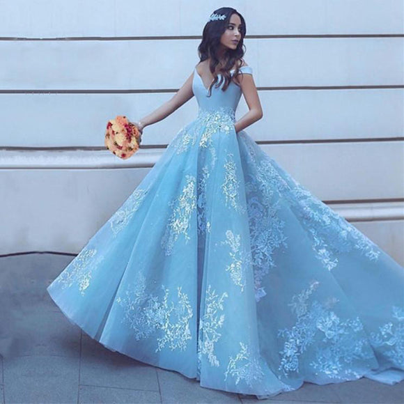 Best Blue Wedding Dress with lace Appliqued
