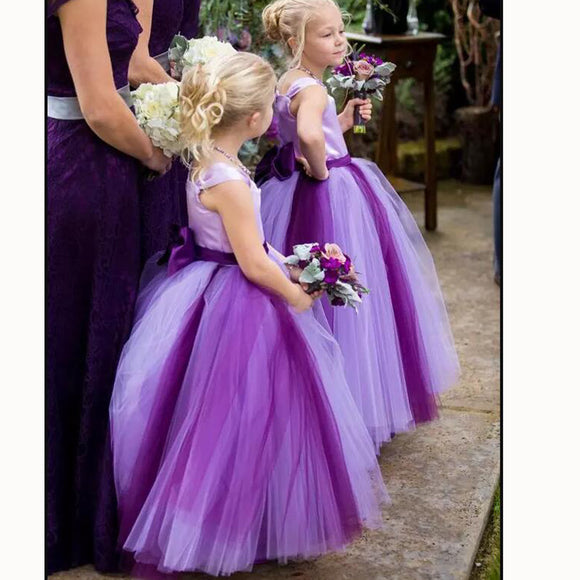 LP3379 Country Style Two Tunes Colorful Flower Girls Dress Little Girls Formal Gown Pageant Dress for Child
