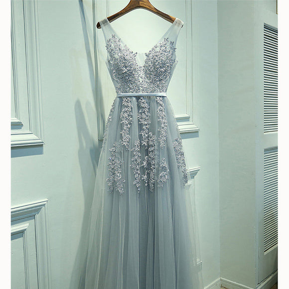 Beautiful V Neck Light Grey Long Prom Dress with Lace Beaded Formal Wear