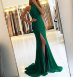 Trendy Jersey Fit Dress Red Prom Dresses Sexy Open back Split Leg Evening Party Dress 2018