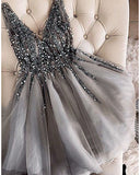 Beading and Sequins Grey/Champagne  Short Cocktail Dresses for Girls
